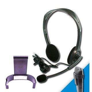 Headset & Gürtelclip Bundle für AVM Fritz!Fon C6 schwarz